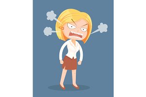 Angry screaming office worker woman