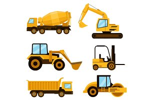 Construction cars icon set