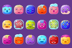 Funny Colorful Square Faces
