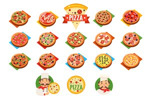Pizza Icons and label