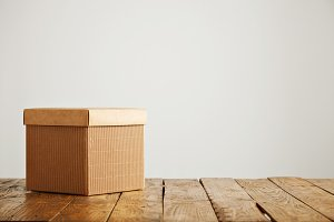 Mockup of blank brown corrugated cardboard box
