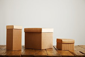 Mockups of blank brown corrugated cardboard boxes