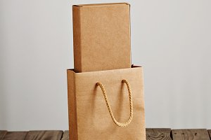 Cardboard craft package box and bag set