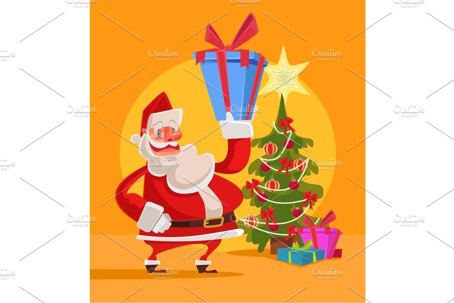 Santa Claus hold gift box