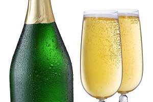Cooled champagne bottle with pair of glasses