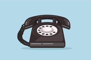 Old black telephone icon