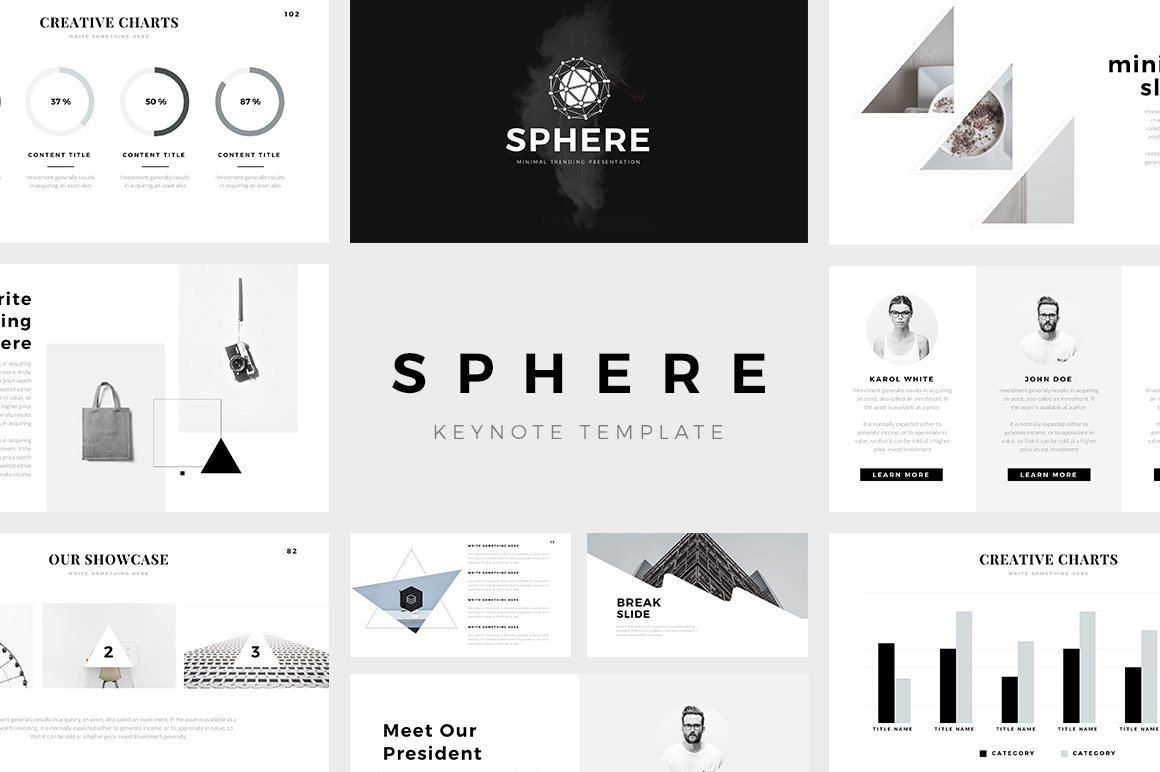 Sphere minimal keynote template presentation templates creative market for Free minimalist powerpoint templates