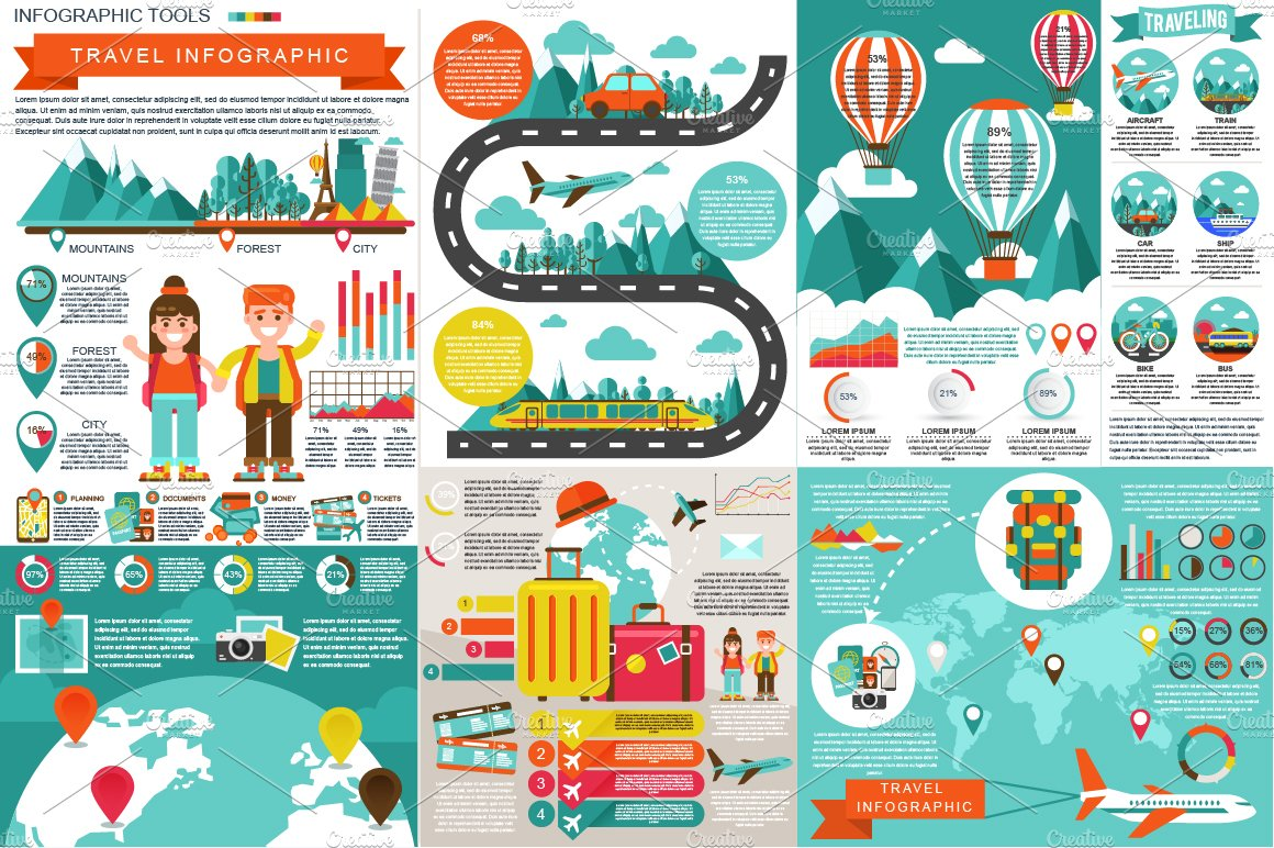 Travel Infographic Elements Presentation Templates