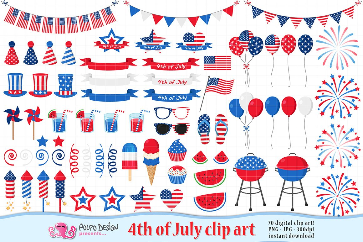 4th of July clipart ~ Graphic Objects ~ Creative Market