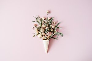 Cone with roses