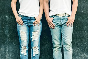 Love couple in shirt and jeans