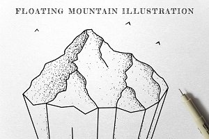 Floating Mountain - Ink Illustration