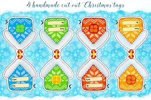 4 knitted style Christmas tags