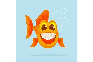Happy goldfish character