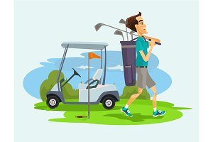 Golfer man character playing golf