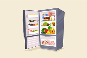 Refrigerator full of tasty food