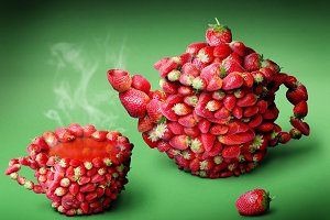 strawberries tea
