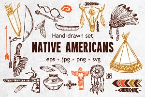 Native Americans Sketch Set