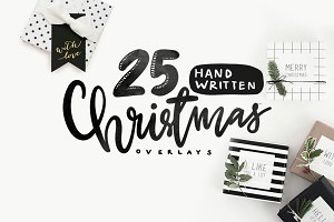 25 Handwritten Christmas Overlays