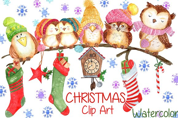 Watercolor Christmas Clipart Illustrations Creative Market