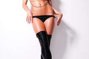 woman in black leather lingerie