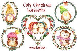 Watercolor Christmas wreaths clipart