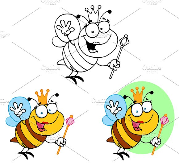 Friendly Queen Bee. Collection  - Illustrations