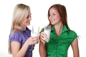 l friends with two glass of milk