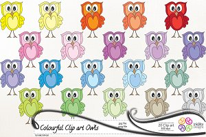 Cute & Colorful Clip art Owls