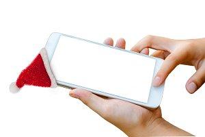 smartphone with Santa cap