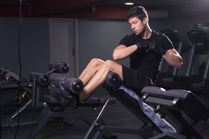 man exercise side abs core bench gym