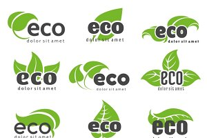 Eco and nature logo labels