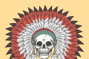 Indian skull in feather headdress