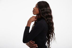 black woman's portrait healthy hair