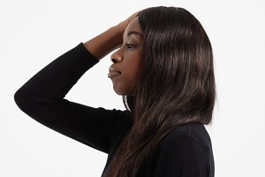 black woman's portrait healthy hair