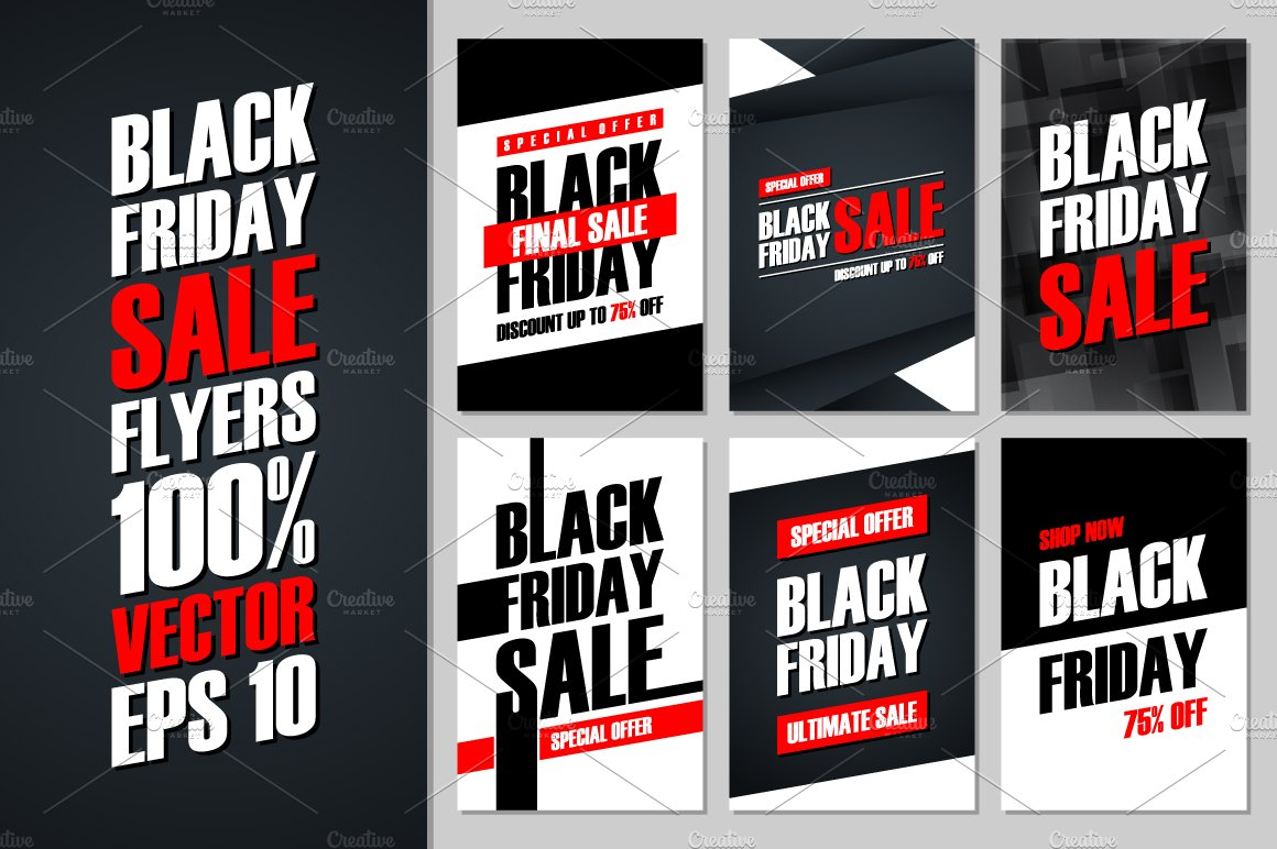 set of black friday banners flyer templates on creative market