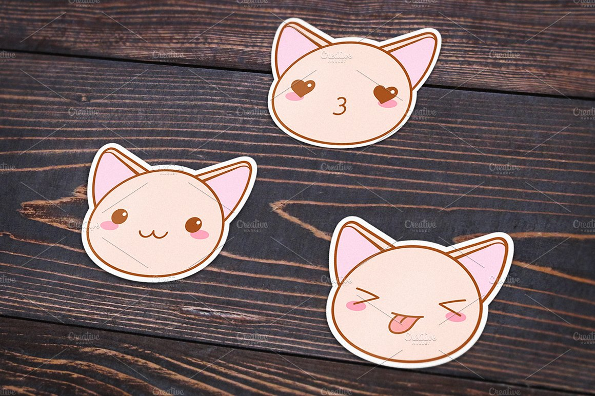 Cute Vector Kawaii Cat Muzzles Icons Creative Market