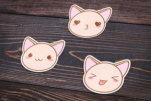 Cute vector kawaii cat muzzles