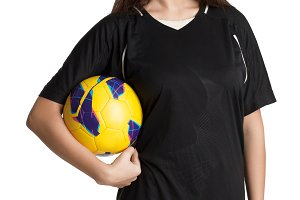 Woman soccer player with soccer ball