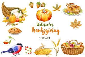 Thanksgiving watercolor clip art