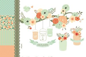 Hand Drawn Mason Jars & Flowers