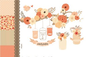 Hand Drawn Mason Jars & Flowers Pink