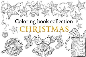 Coloring book merry christmas
