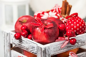Xmas composition with red apples