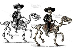 Rider on skeleton horse. Mexican