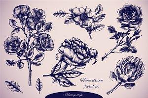 Vintage floral vector set.