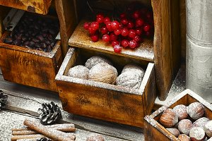 cupboard with Christmas decor