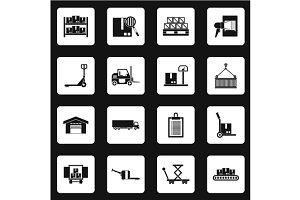 Warehouse and storage icons set