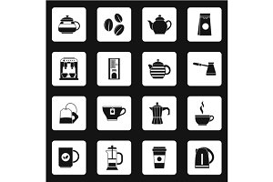 Coffee icons set, simple style