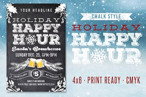 Chalk Holiday Happy Hour Flyer